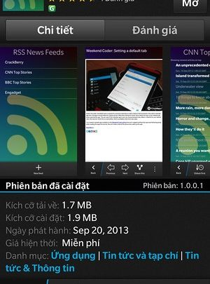 RSS News Feeds - Ứng dụng đọc tin nhanh trên BlackBerry 10