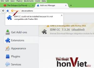 Khắc phục lỗi IDM cc không tương thích trên FireFox