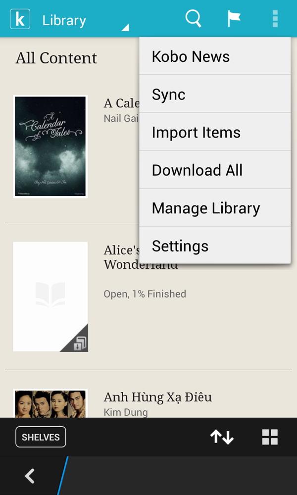 Kobo - ứng dụng đọc sách epub trên BlackBerry 10